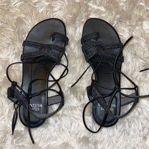 Stuart Weitzman Gladiator Lace Up Black Sandal